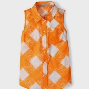 🍍Boden Jaffa Painted Check Sleeveless Button Down